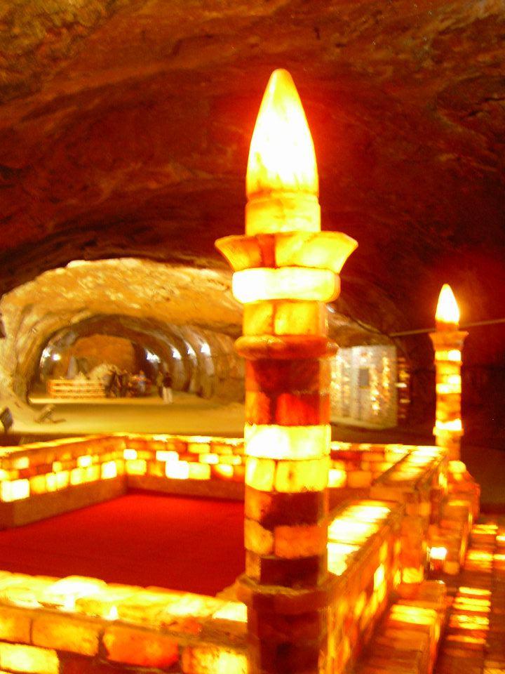 Illuminated (Salt Mosque) inside the visitors' area of Khewra Salt Mines, Pakistan 3