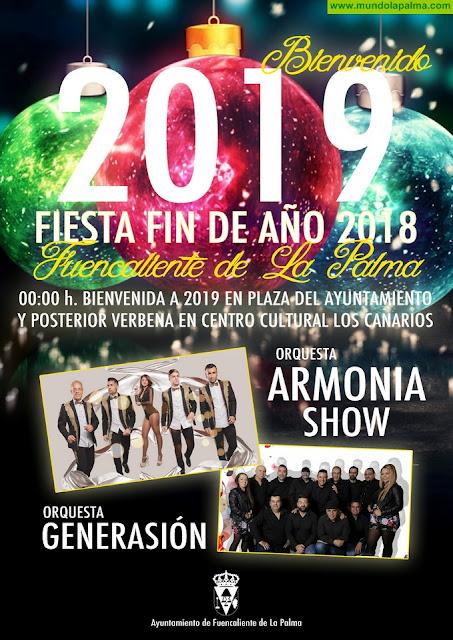 Verbena con las Orquestas Armonía Show y Generasión para recibir 2019 en Fuencaliente de La Palma