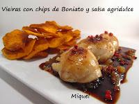 Vieiras con chips de Boniato y salsa agridulce