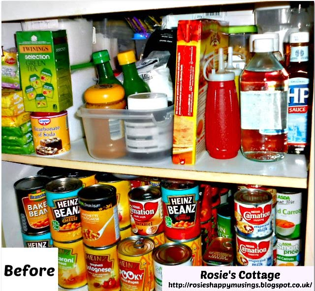Organized pantry top shelves before
