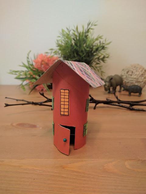 Kids Crafts, House Craft, Paper roll craft, toilet roll craft, upcycled craft, easy craft, fun craft