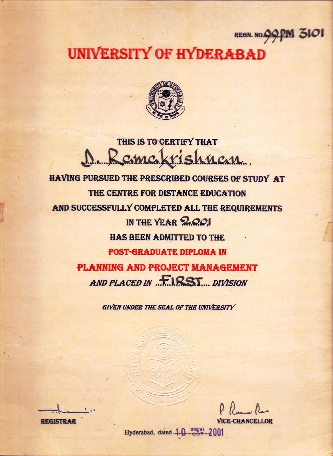 Avinaash Diraviyam Post Graduate Diploma In Planning And Project