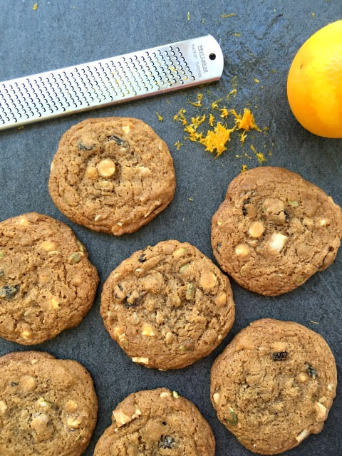 Jumbo trail mix cookies are perfect for summer hikes, picnics and road trips. Made with stone ground flour and flavoured with orange zest.