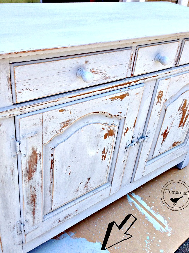 Using Miss Mustard Seed Paint on this old Hutch
