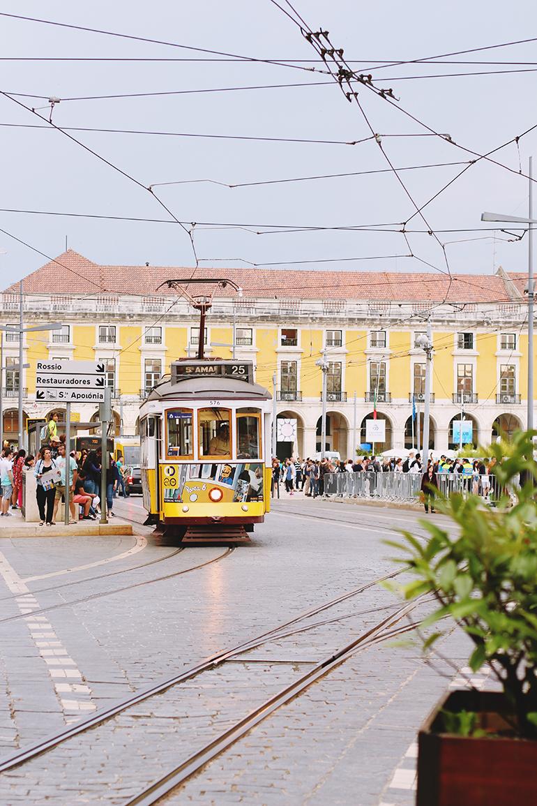 Lisbon yellow tram 25