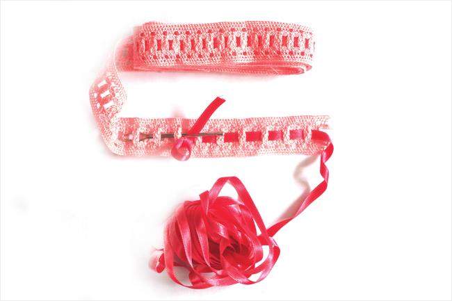 Pasacinas, cinta y aguja y el proceso de la aguja pasacintas