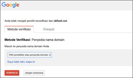 Verifikasi Domain Rumahweb Dengan Webmaster Google