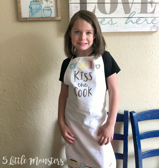 Kiss the Cook Apron with Cricut Iron On Design