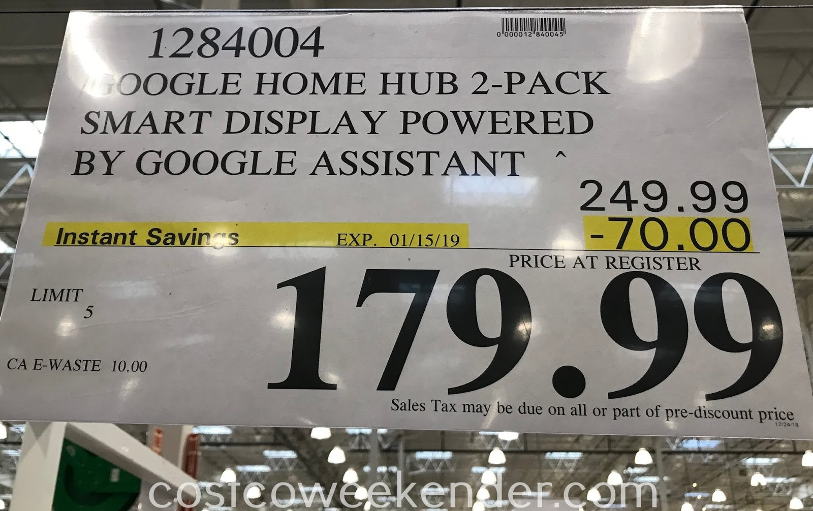 Deal for a 2 pack of Google Home Hubs at Costco