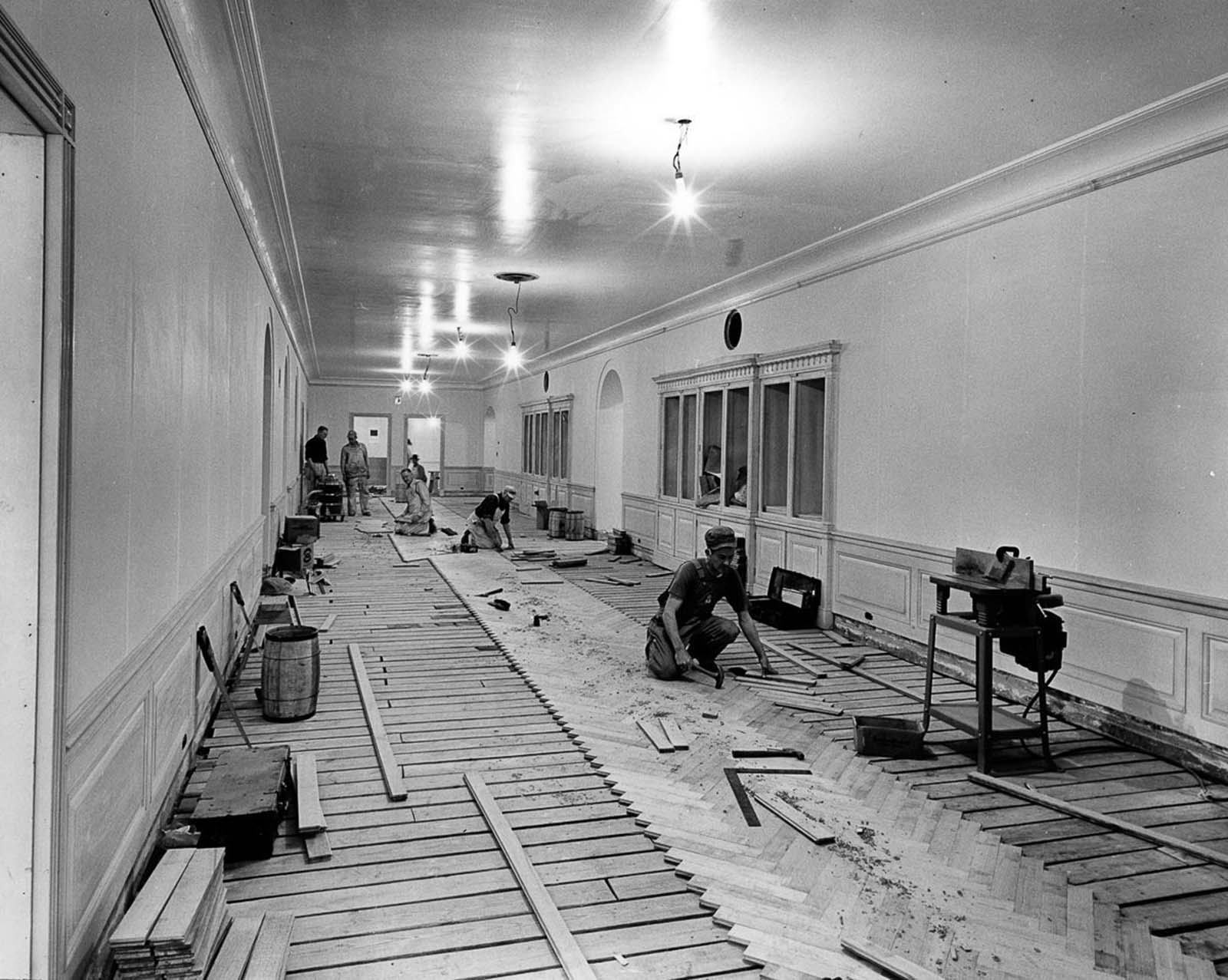 West wiew in the third floor corridor. 1951.
