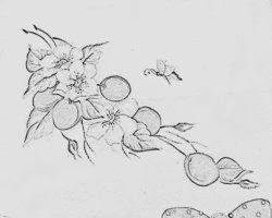 risco flores e ameixas