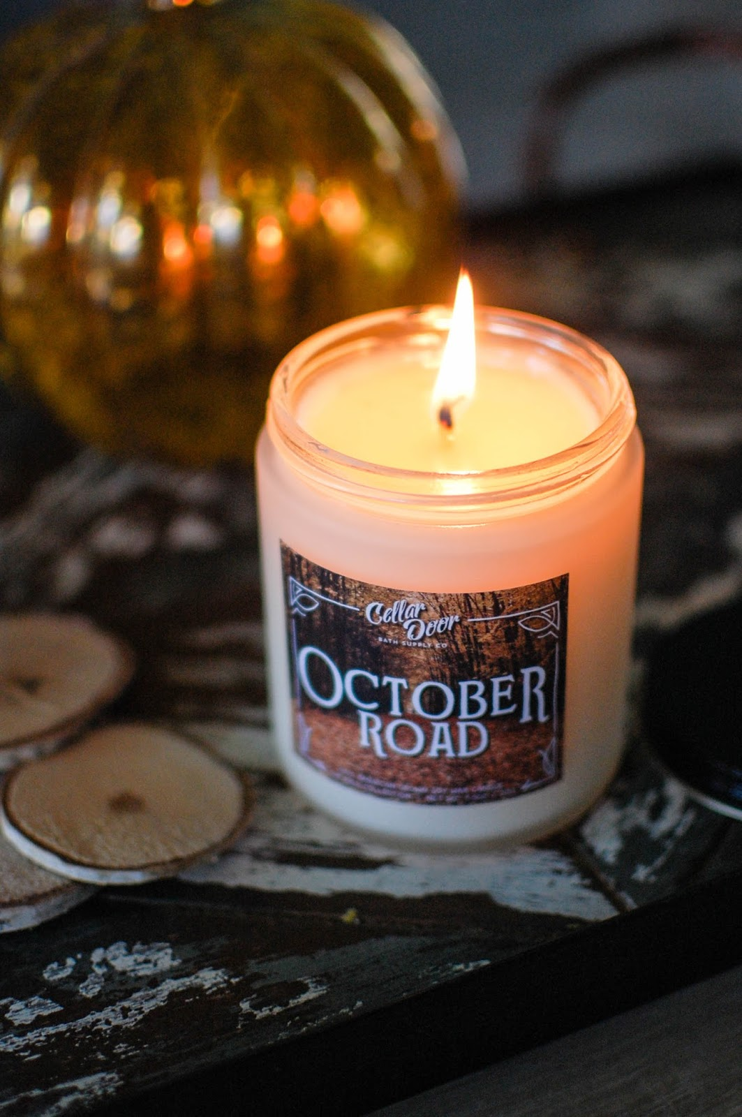 I purchased two candles in one go but I am going to review them separately. First up is October Road. & The Redolent Mermaid: Cellar Door Bath Supply Co.: October Road Candle