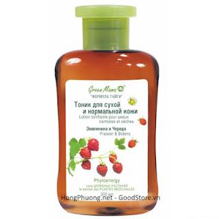 """Tonic dành Green Mama dành cho da khô và bình thường được chiết xuất từ \""""Dâu tây và hoa vạn thọ tây\"""" 300 ML"""