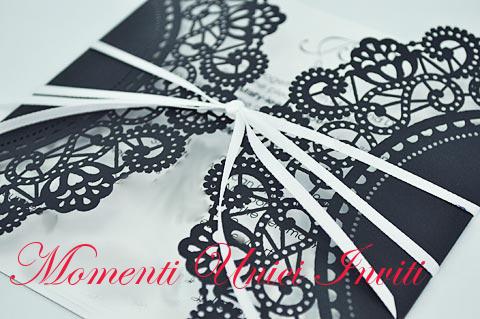 intaglio+card. ANTEPRIMA - Partecipazione card con intagli in cartoncino perlato o matPartecipazioni intagliate