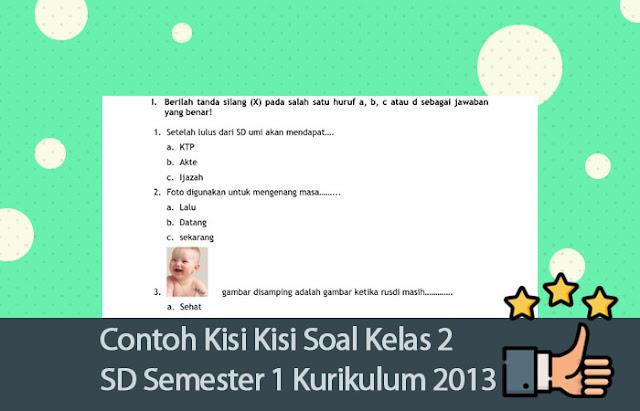 Contoh Kisi Kisi Soal Kelas 2 SD Semester 1 Kurikulum 2013 [Lengkap]