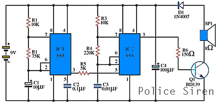 police siren circuits with ic555 electronic circuit rh elcircuit com 12V Siren Circuit Alarm Op-Amp Circuits Diagrams