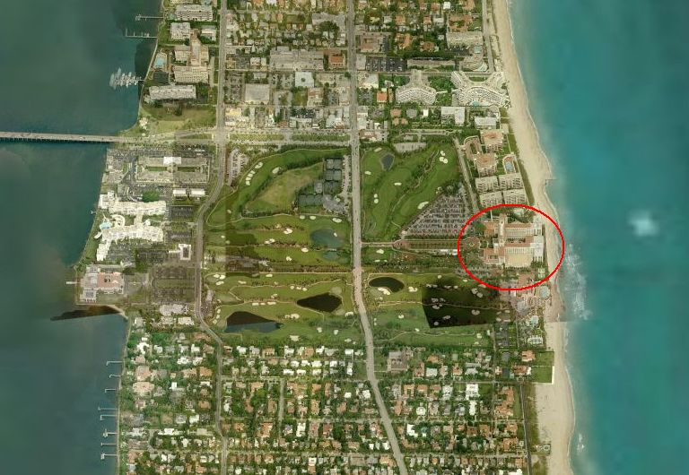Palm Beach, Florida is actually a long, north to south facing island off the coast of Florida.