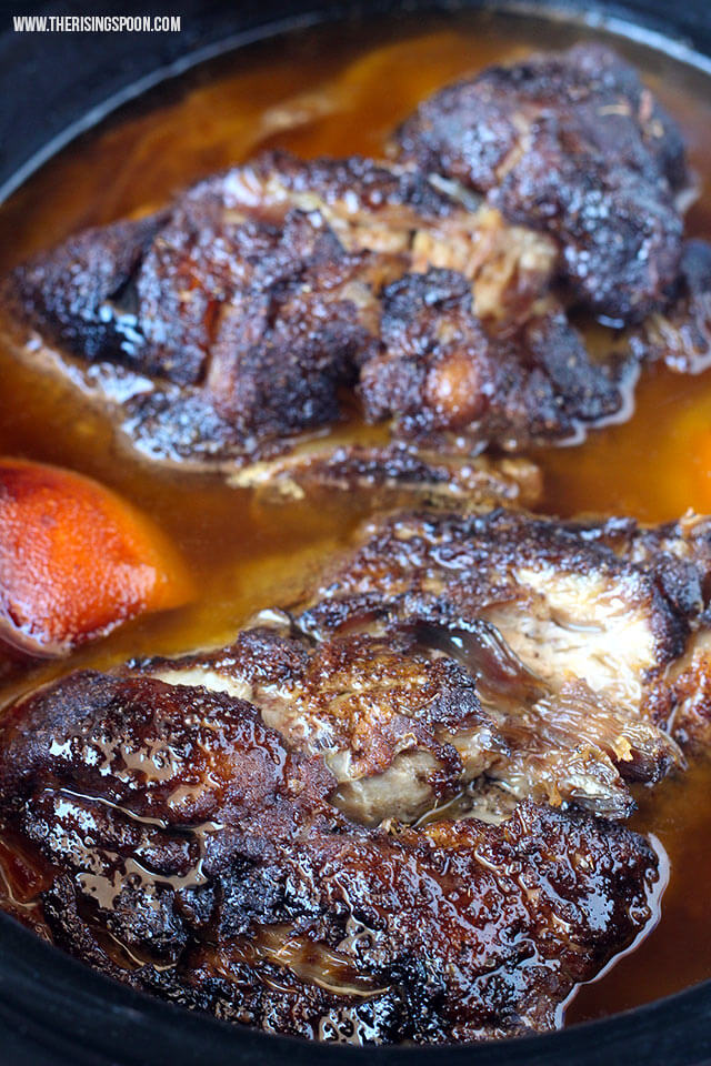 Fall-apart-tender pork shoulder cooked in the crock-pot. This super easy recipe takes less than 10 minutes to prep and can be cooked in as little as 4-5 hours on the high setting.