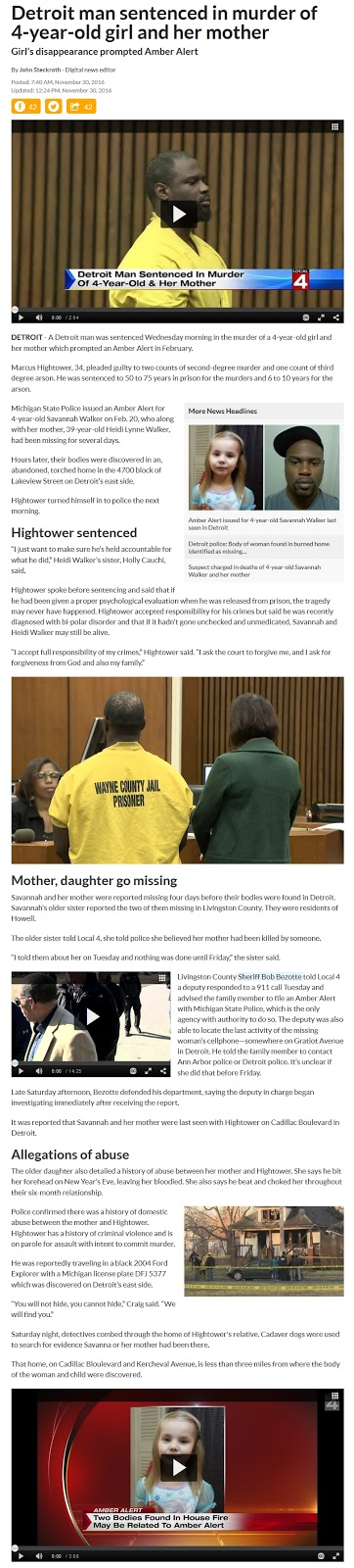 MI; black ex con murders white ex, 4-yo daughter - sentenced - Savannah, Heidi Walker (11-30-16) (1)