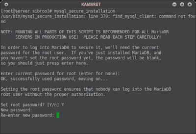 Kemudian tekan Y untuk membuat password root dan masukkan password terbaru