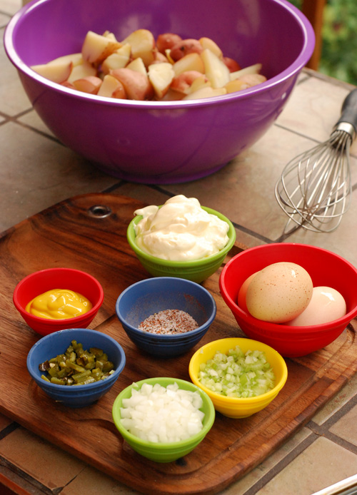 Potato salad mise en place, potato salad recipe, potato salad ingredients