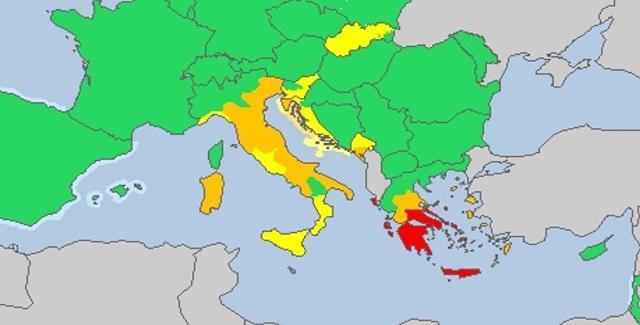 «Κόκκινη προειδοποίηση» για την κακοκαιρία στην Ελλάδα από την Meteoalarm
