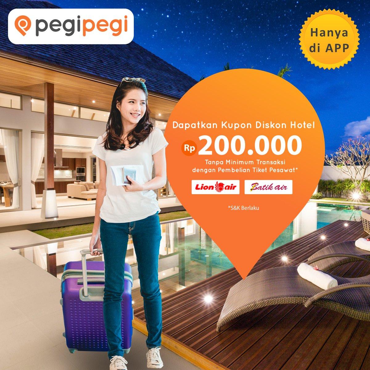 PegiPegi - Promo Beli Tiket Lion Air & Batir Air GRATIS Kupon Voucher Hotel 200 Ribu