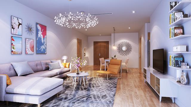 Phòng khách căn hộ của dự án Hinode City 201 Minh Khai