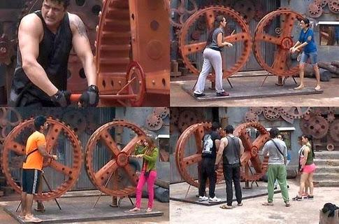 Bigg Boss 7 Contestants performing 'Wheel Rotation' Task