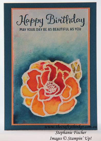 #thecraftythinker, #brushocolour, #sneakpeek, #cardmaking, #stampinup, Brusho Colour Crystals, Beautiful Day, Sneak Peek, Occasions Catalogue, Stampin' Up Australia Demonstrator, Stephanie Fischer, Sydney NSW