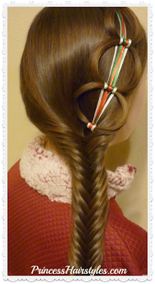 Ribbon chain braid with fishtail braid hair tutorial.