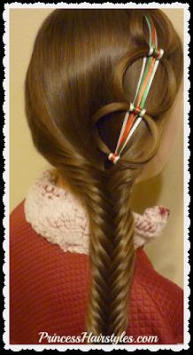 Ribbon chain braid with fishtail braid hair tutorial.
