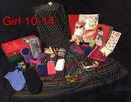 10 to 14 year old girl shoebox for Operation Christmas Child.