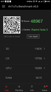 Xiaomi Redmi Note 3 - skor Antutu Benchmark pada mode Balanced