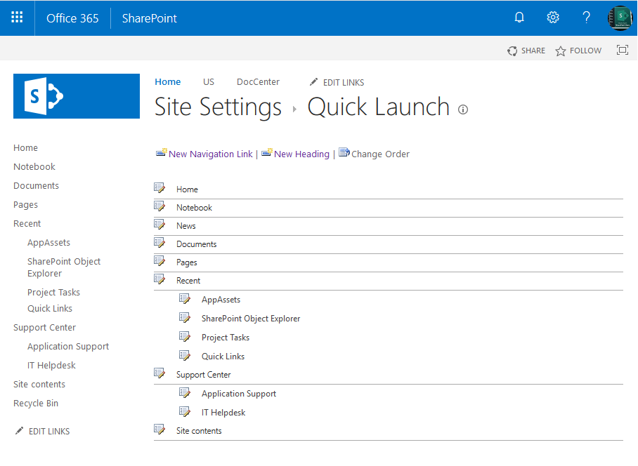 powershell to update quick launch links in sharepoint online