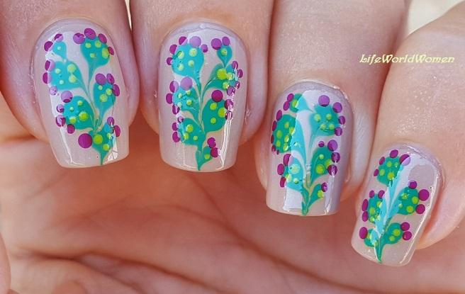 Life World Women Nopal Cactus Nail Art Using Dotting Tool Needle