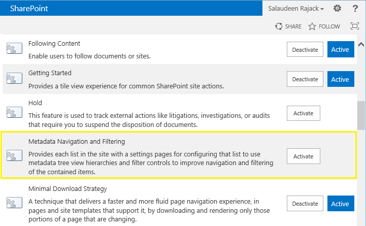 metadata navigation settings missing sharepoint 2013