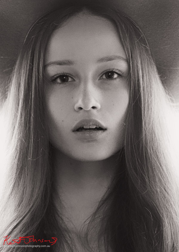 Headshot in black and white for model Nikola Říhová photographed in Prague by Sydney based Photographer Kent Johnson.