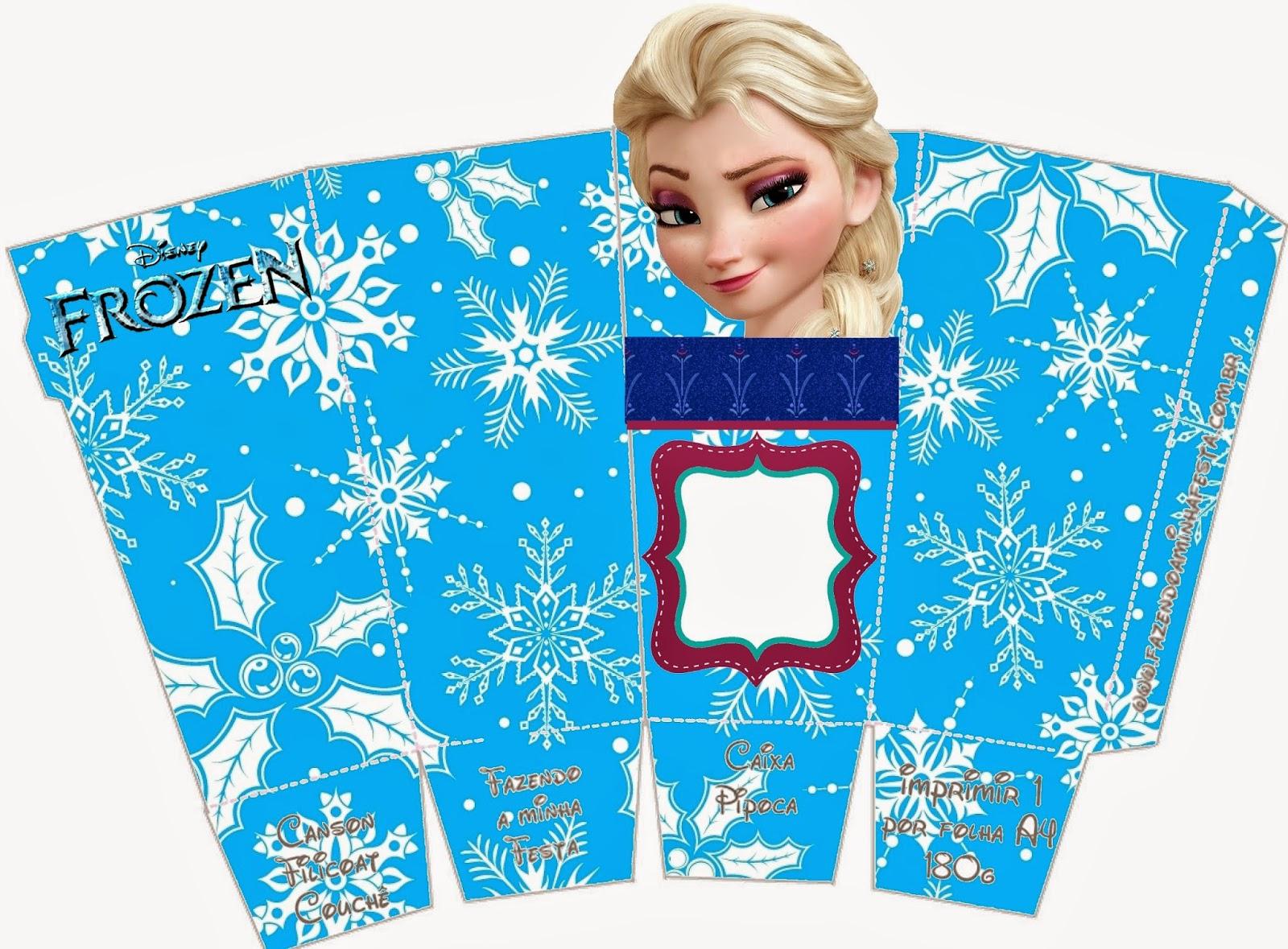 Frozen: Caja de Elsa para Popcorn, para Imprimir Gratis.