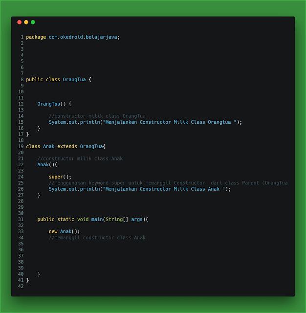 Contoh Code penggunaan lain keyword super di bahasa program java
