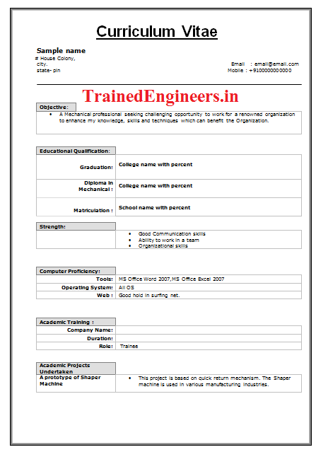 Mechanical Engineer Resume Format For Fresher Professional Engineering  Freshers Updated