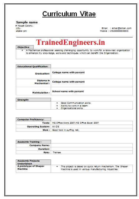 Resume Of Fresher It Engineer Sample Resume Service