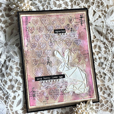 Sara Emily Barker https://sarascloset1.blogspot.com/2019/03/some-bunny-loves-you-with-tim-holtz.html Tim Holtz Geo Springtime Distress Oxide Spray Mixed Media Card 1