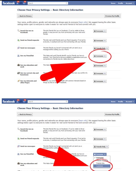 how to hide friend list on facebook app