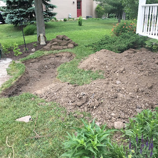 The yard, pond construction