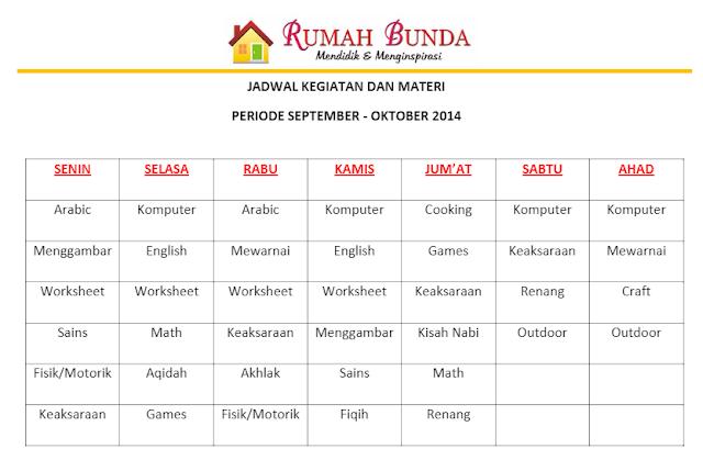 jadwal harian kegiatan homeschooling islami
