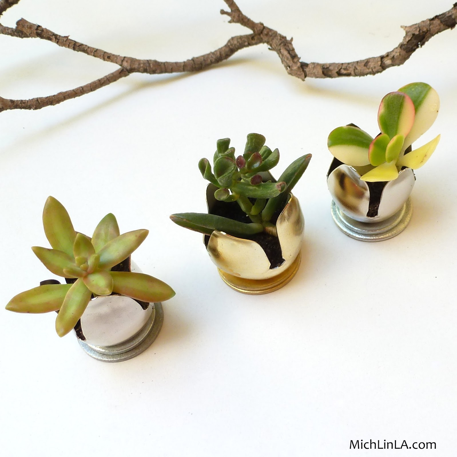 Mich L. in L.A.: Tiny Succulent Planter - Made From A Jingle Bell