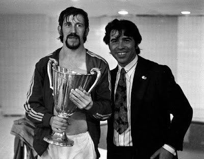 Rangers skipper John Greig (left) with the European Cup Winners' Cup in 1972