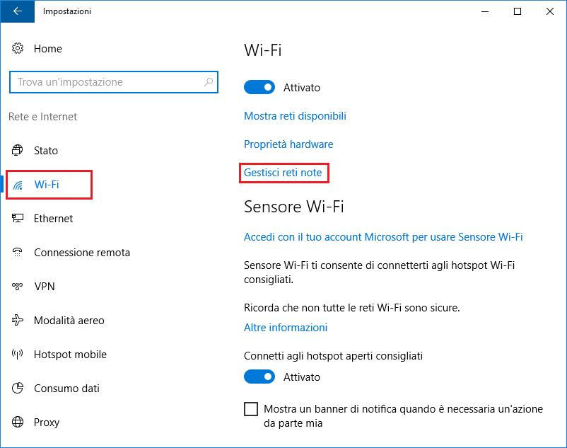 Windows 10: Wi-Fi, Gestisci reti note