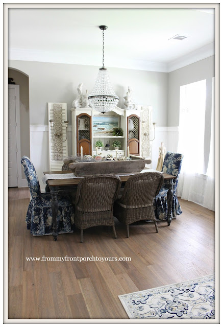 French Country Farmhouse Dining Room-Pottery Barn-Chandlier-Crystal Chandelier- From My Front Porch To Yours